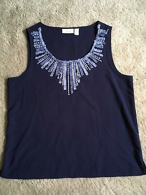Chico's size 2 Large Navy Blue Sleeveless Top Shirt Shell Tank