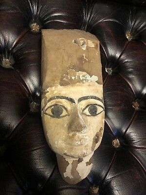 Ancient EGYPTIAN Wooden Mummy Mask from a Sarcophagus c 600 BC