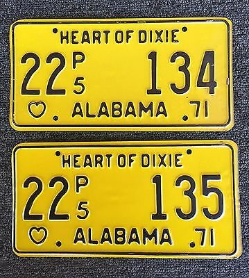 ALABAMA Vintage LICENSE PLATE 1971 LOT OF 2 HEART OF DIXIE   Consecutive Yellow
