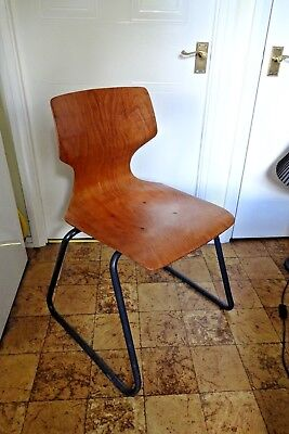 Vintage West German 1970s Flötotto Pagholz Wood Chrome Industrial Chair