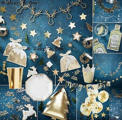 Gold Stag Christmas Party Partyware Tableware Plate Decoration Confetti Bunting