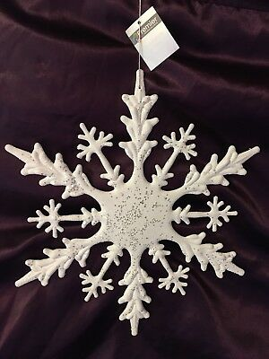 Christmas Huge Hanging Glittery White Snowflake 45cm. Great For Large Displays