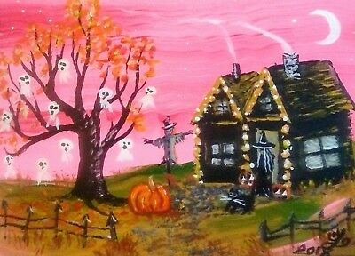 ACEO original painting Halloween landscape plastic ghosts witch cat house art