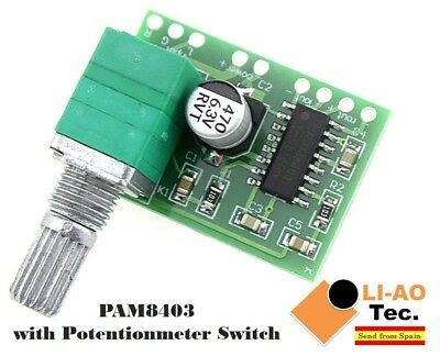 PAM8403 5V 2 Channel USB Digital Audio Amplifier with Potentionmeter Switch