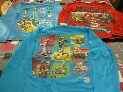 Lot De 3 Tee Shirts Manches Longues Mario Taille 10 Ans