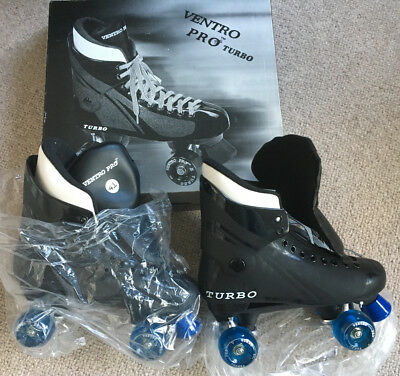 Ventro Pro Turbo Quad Roller Skates - Black and Blue + Wristsaver/protection