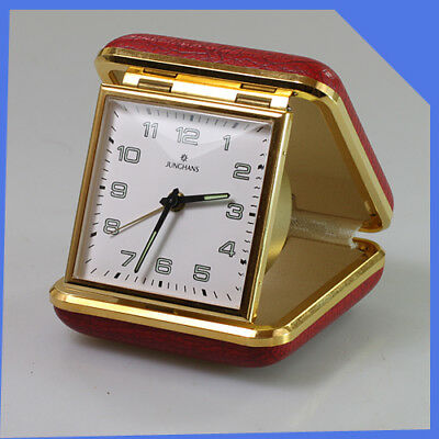 JUNGHANS Germany Portable Pocket Travel Brass Red Mechanical Wind-up Alarm Clock