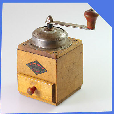 old rare vintage antique GESCHMIEDETES Germany Coffee Wooden Metal Grinder