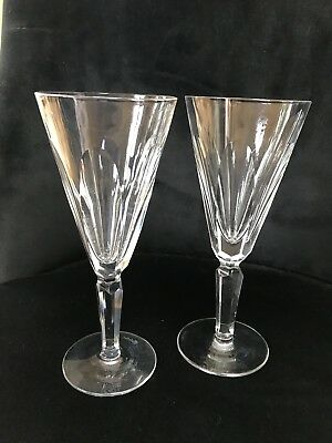 """Pair Waterford Crystal """"SHEILA"""" Champagne Glass / Flute – 18.1cms (7-1/8″) Tall"""