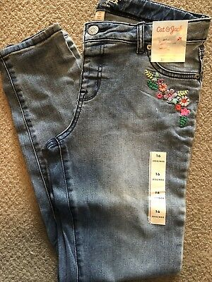 Girl's New Cat & Jack Jeggings Sz 12 Embroidered Flowers Jeans Leggings Stretch