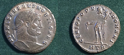Roman Empire Billon Bronze Follis Of Severus Ii 306-307 Ad Heraclea Mint Genius