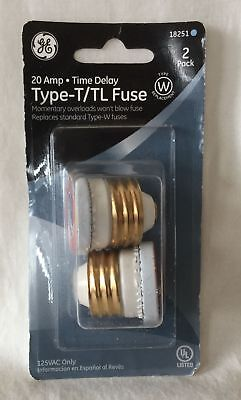 NEW General Electric GE Type T/TL Time Delay Fuses - 2 Pack - 20 Amp - #18251