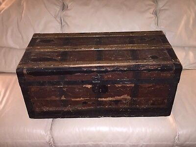 """Antique Doll Or Child Steamer Trunk 28""""x14""""x12 Wooden Chest Box"""