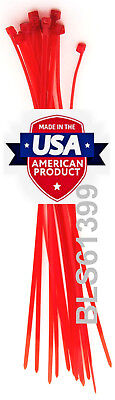"""100 USA Made TOUGH TIES 6"""" inch 40lb Nylon Tie Wraps Wire Cable Zip Ties Red"""