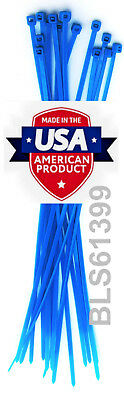 "100 USA Made TOUGH TIES 6"" inch 40lb Nylon Tie Wraps Wire Cable Zip Ties Blue"