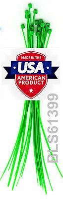 "100 USA Made TOUGH TIES 6"" inch 40lb Nylon Tie Wraps Wire Cable Zip Ties Green"