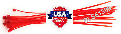 """100 USA Made TOUGH TIES 8"""" inch 50lb Nylon Tie Wraps Wire Cable Zip Ties Red"""
