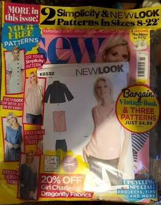Sew Magazine - Issue 111 - June 2018 + 2 FREE Patterns new look,simplicity