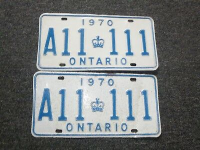 1970 Ontario Canada License Plate Pair  # A11 111 Used With Wear