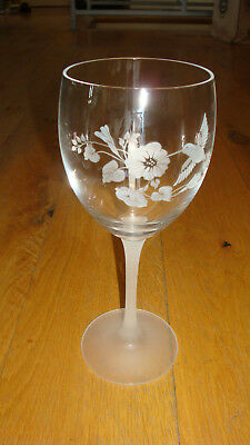 """2 Avon crystal wine water goblets glass hummingbird flowers frosted stem 8.25"""""""