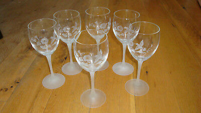 """6 Avon crystal wine water goblets glasses hummingbirds flowers frost stems 8.25"""""""