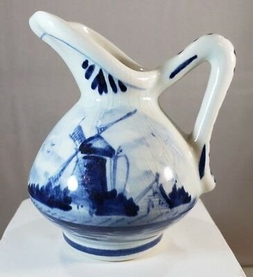 Hand Painted Signed Delft Blue Mini Pitcher with Windmill Farm Scene