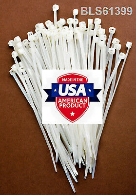 "100 USA Made TOUGH TIES 4"" inch 18lb Nylon Tie Wraps Wire Cable Zip Ties White"
