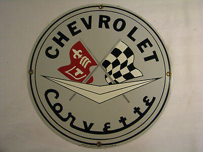 vintage Ande Rooney Chevrolet Corvette Porcelain Sign 12''