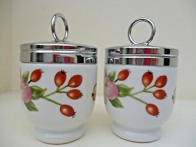 ROYAL WORCESTER PAIR OF MATCHING EGG CODDLERS PERSHORE STANDARD SIZE x2