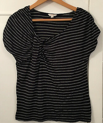 Ladies Monsoon Navy and White Stripe T Shirt Size Small