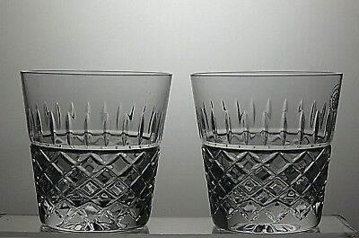 "Galway Irish Crystal ""rathmore"" Cut Tumblers/glasses Set Of 2 - Signed"