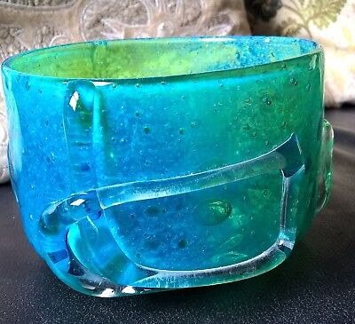 Vintage Mdina Footed Chinese Glass Bowl Michael Harris 1970 Blue Green