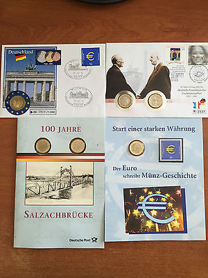 2002-2003 Lot Deutsche Post Sealed Uncirculated Euro Coins + Stamps Envelopes