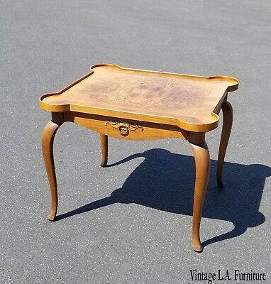Vintage French Style Side Table ~ End Table w Burl Wood Table Top by Baker Furn.