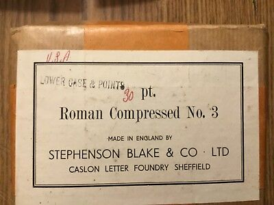 Letterpress Metal Type Roman Compressed #3 Lower Case And Punct. 30Pt New In Box