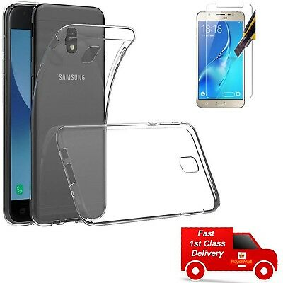 TPU Clear Gel Case Cover and Tempered Glass Screen Protector For Samsung Galaxy