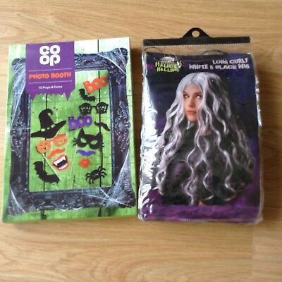 Halloween Joblot Vampire/Witch Long Curly White & Black Wig & Photo Booth Props/