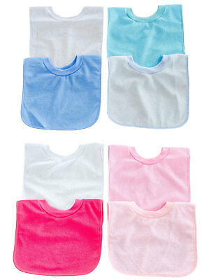 Baby Boys Girls 2 Pack Or 4 Pack Large Plain Pop On Bibs with Peva Back P5194