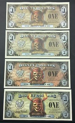 4 New Disney Dollar $1 Pirates of the Caribbean 2007 & 2011 matching serial #'s