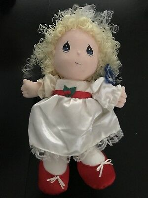 Precious Moments 1992 Applause Doll Holiday dress curly blonde hair w tag