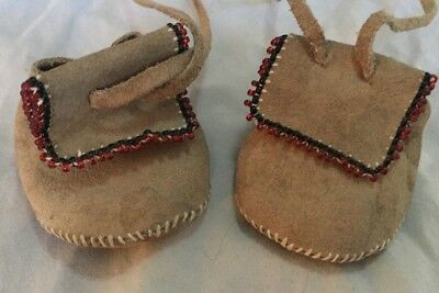 """Sioux Beaded 2"""" Moccasins for hanging from rear view mirror"""
