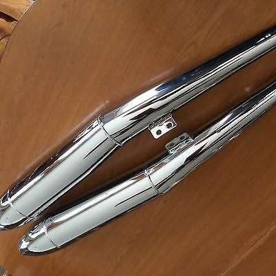 Vintage Bmw R50/5-R75/5 New Pair Of Beautiful Chrome Cigar Shape  Mufflers