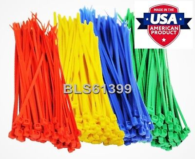 "400 USA Made TOUGH TIES 6"" inch 40lb Nylon Tie Wraps Wire Cable Zip Ties RGBY"