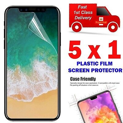 5 X Clear Plastic Screen Guard LCD Protector Film Layer For Apple iPhone XS 2018