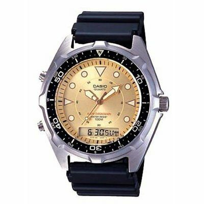 Casio Mens AMW320D-9EV Ana-Digi Sports Watch With Gold Dial Black Resin Strap