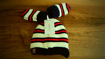 Jasper Conran Baby Boys multi coloured peeked Hat And Gloves Set. 0-6 months