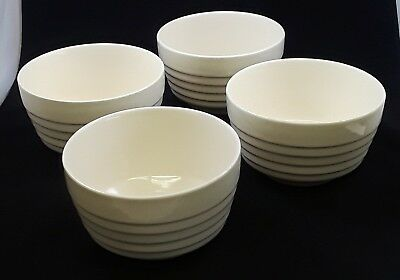 Vintage USA McCoy Ribbed Ironstone Cereal/Soup Bowls -Set of 4 - Off White/Cream