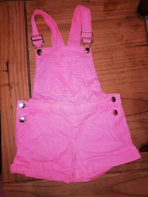 Girls Pink Short Dungarees. Age 6-7 Years