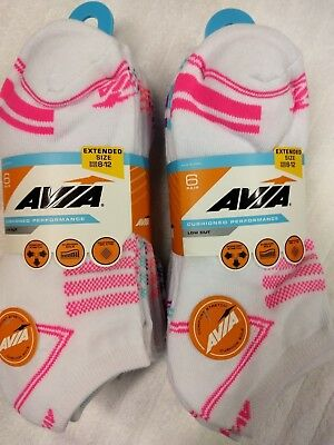 AVIA Ladies Cushioned Performance Low Cut Sock Extended Size 8-12 6-12 Pair