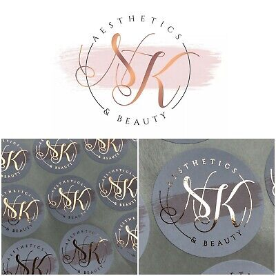 BUSINESS NAME Custom circle Shaped Foil logo Stickers Marble Copper ROSE GOLD